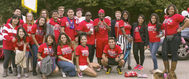 Group of students in red Diversity at State tshirts